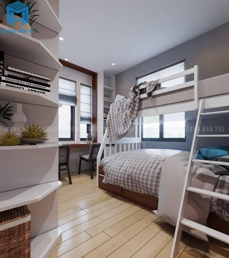Phòng ngủ nhỏ dành cho con trai:  Phòng ngủ nhỏ by Công ty TNHH Nội Thất Mạnh Hệ