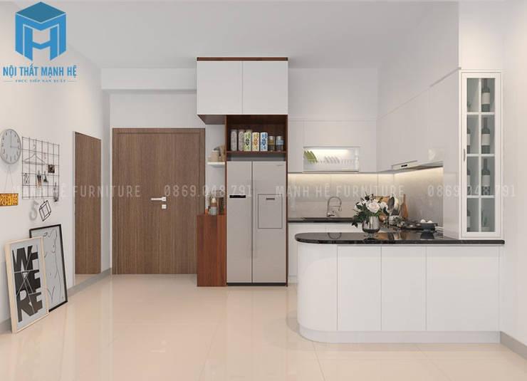 tổng thể nội thất không gian phòng bếp:  Phòng ăn by Công ty TNHH Nội Thất Mạnh Hệ