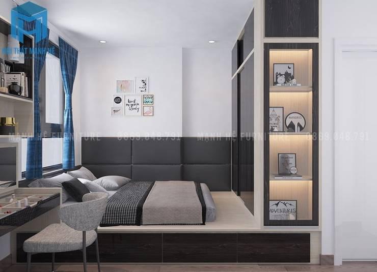 Phòng ngủ master có thiết kế khá sang trọng và hiện đại:  Phòng ngủ by Công ty TNHH Nội Thất Mạnh Hệ