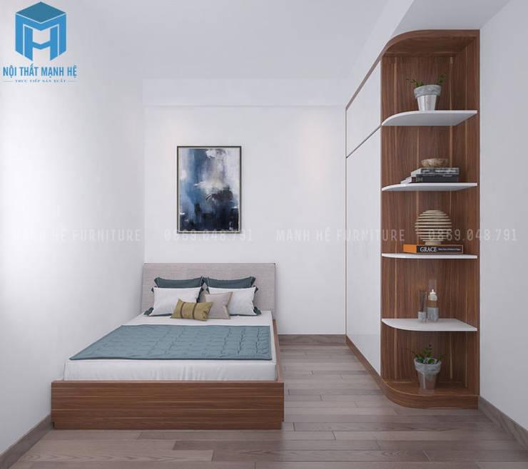 nội thất phòng ngủ nhỏ gọn và tinh tế:  Phòng ngủ nhỏ by Công ty TNHH Nội Thất Mạnh Hệ