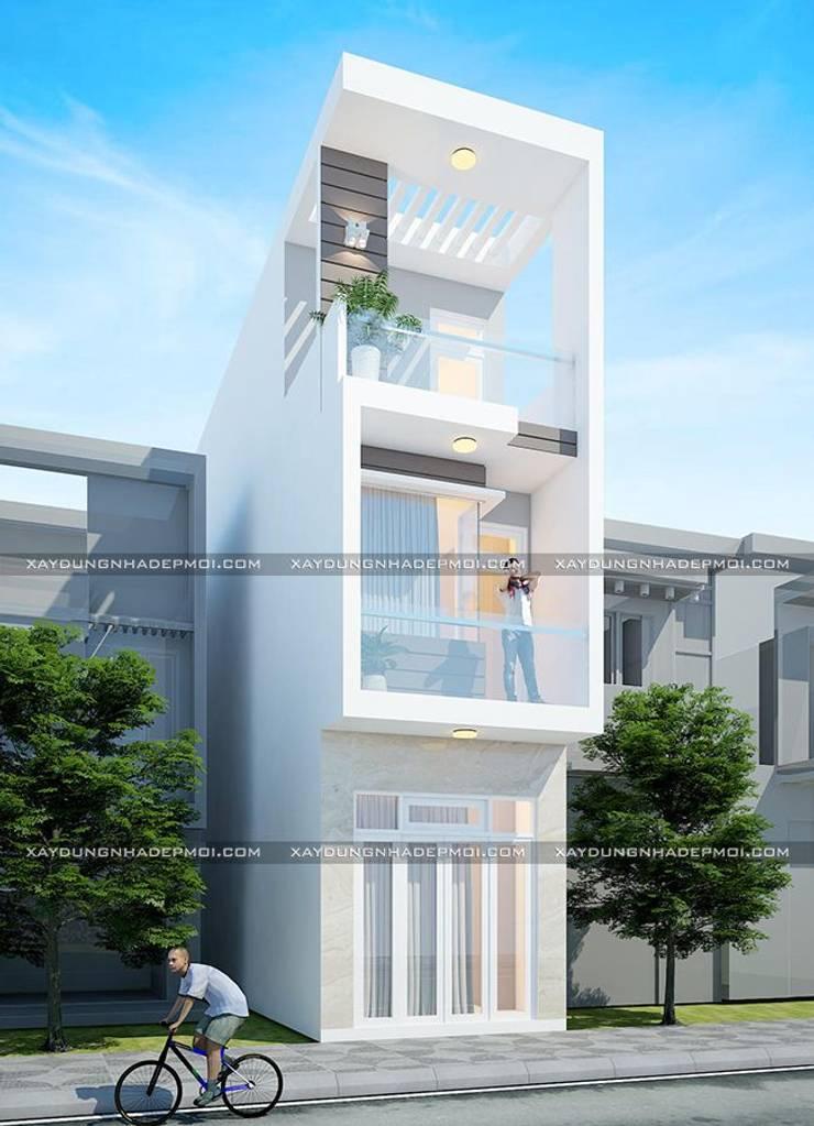 Bản vẽ thiết kế nhà ống 3x15 đẹp hiện đại:   by Công ty xây dựng nhà đẹp mới
