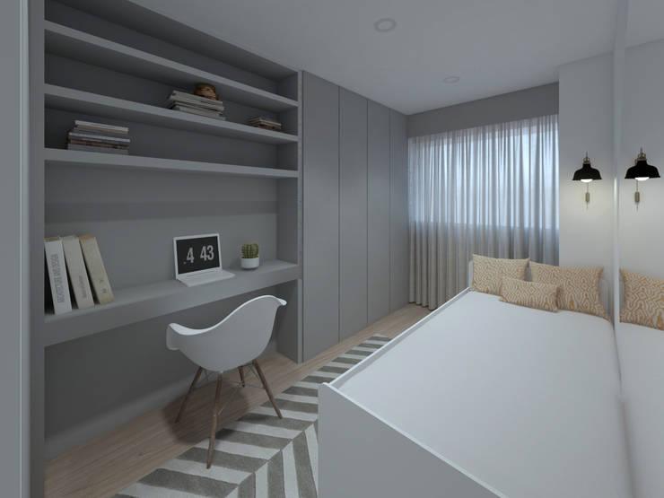 Apartamento, Antas - Porto: Quartos pequenos  por MIA arquitetos