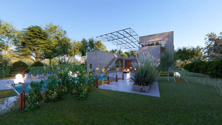 VIVIENDA UNIFAMILIAR Lomas de City Bell #251: Jardines de estilo  por Arq Olivares,