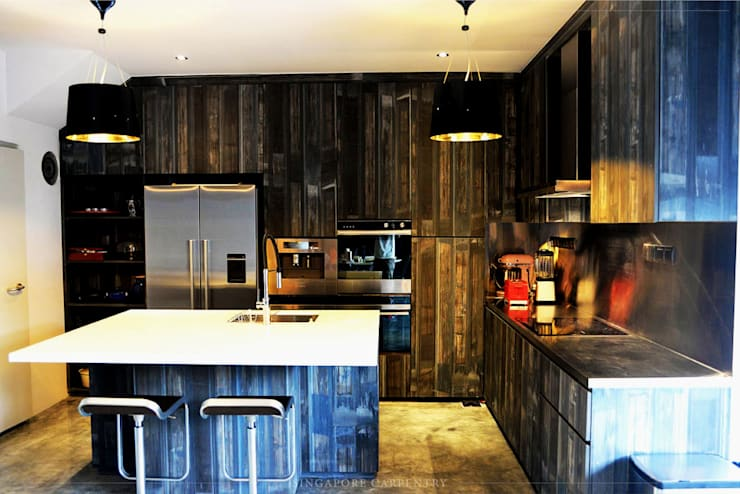 Industrial Design at Worthing Road:  Kitchen by Singapore Carpentry Interior Design Pte Ltd