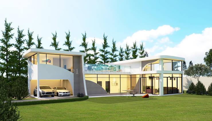 - โครงการก่อสร้าง บ้านสไตล์โมเดิร์น -  :  บ้านและที่อยู่อาศัย by บริษัท พี นัมเบอร์วัน ดีไซน์ แอนด์ คอนสตรัคชั่น จำกัด