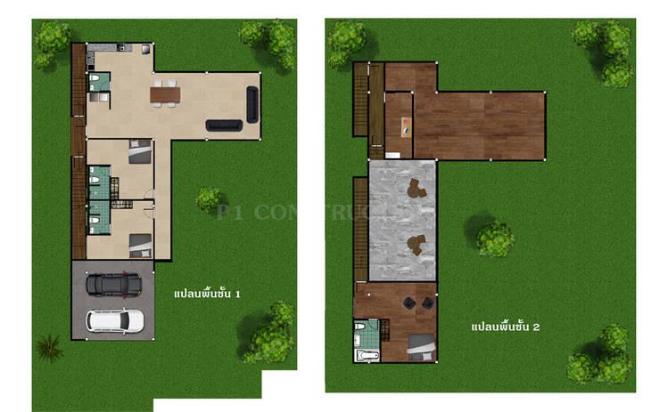 - โครงการก่อสร้าง บ้านสไตล์โมเดิร์น –  :  พื้น by บริษัท พี นัมเบอร์วัน ดีไซน์ แอนด์ คอนสตรัคชั่น จำกัด