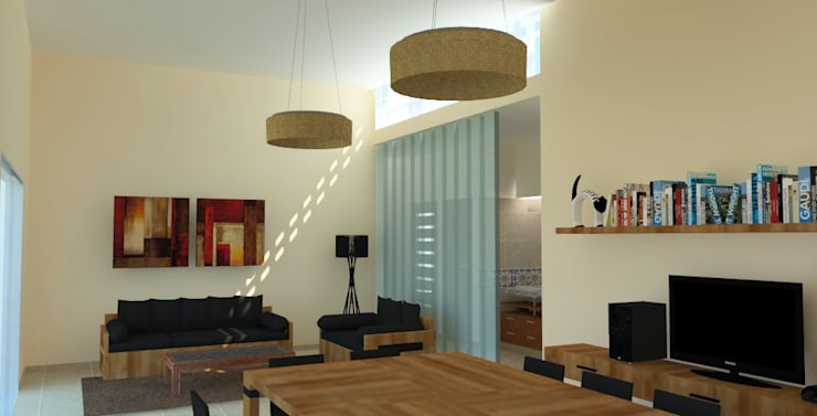 Vivienda Unifamiliar: Livings de estilo  por Arquitectura CH,