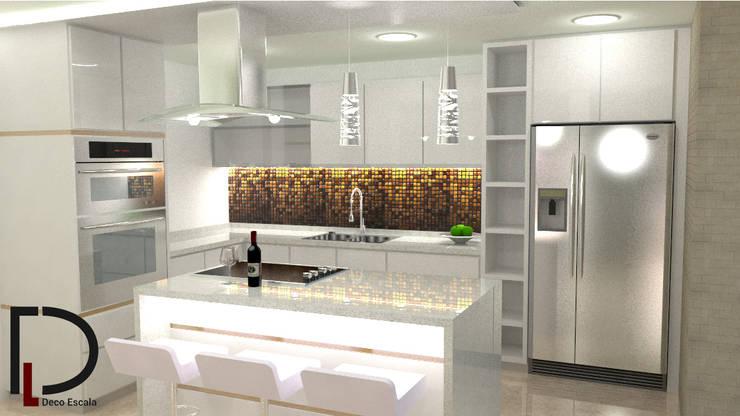 VISTA LATERAL DERECHA : Muebles de cocinas de estilo  por DECOESCALA ARQ JHON LEAL