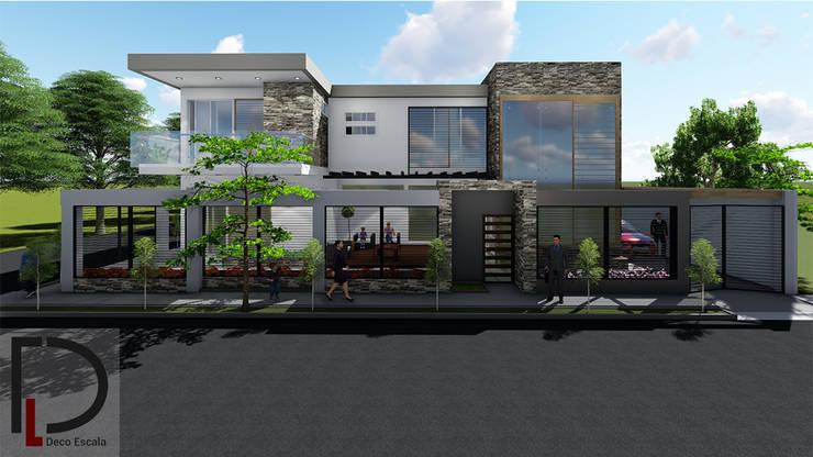 FACHADA PRINCIPAL : Casas unifamiliares de estilo  por DECOESCALA ARQ JHON LEAL