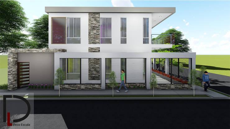 FACHADA LATERAL IZQUIERDA : Casas de campo de estilo  por DECOESCALA ARQ JHON LEAL