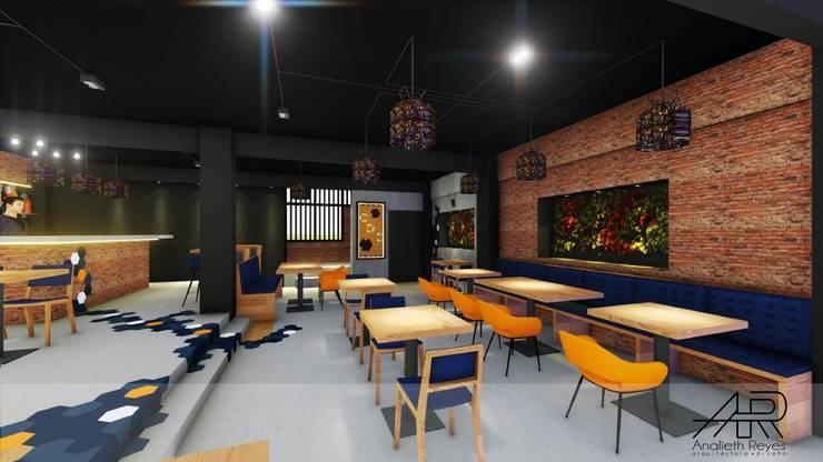 Área de mesas: Tiendas y espacios comerciales de estilo  por Analieth Reyes - Arquitectura y Diseño