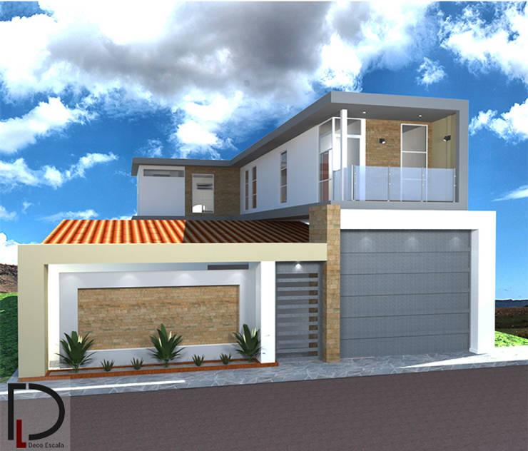VISTA FRONTAL: Casas pequeñas de estilo  por DECOESCALA ARQ JHON LEAL