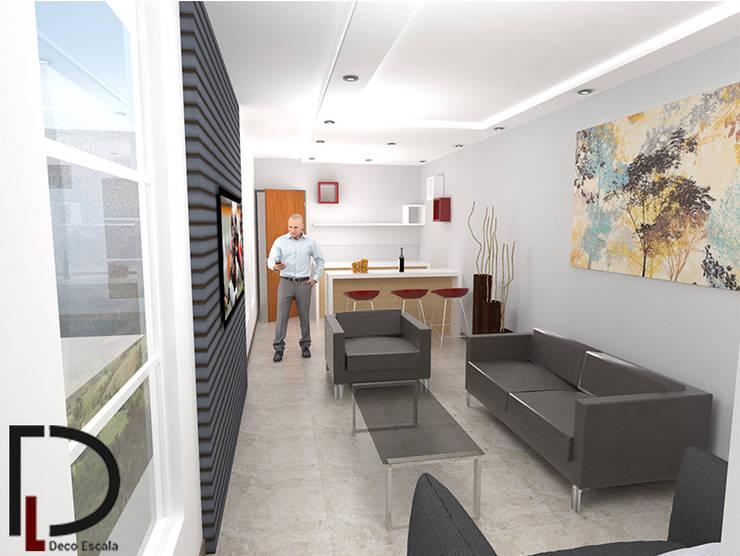 APARTAMENTO : SALA-COMEDOR : Salas / recibidores de estilo  por DECOESCALA ARQ JHON LEAL