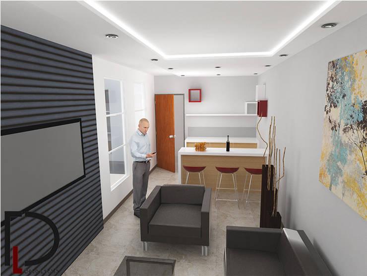 APARTAMENTO : SALA-COMEDOR 02: Casas de estilo  por DECOESCALA ARQ JHON LEAL