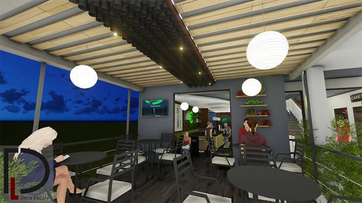 LAMPARA DE TECHO: Terrazas de estilo  por DECOESCALA ARQ JHON LEAL