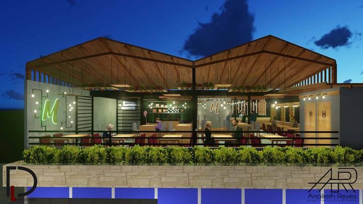 VISTA FRONTAL: Terrazas de estilo  por Analieth Reyes - Arquitectura y Diseño