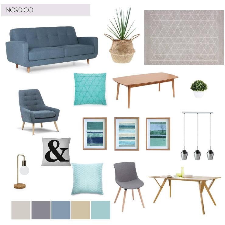 Mood Board para Living Comedor + Paleta de Colores:  de estilo  por MM Design