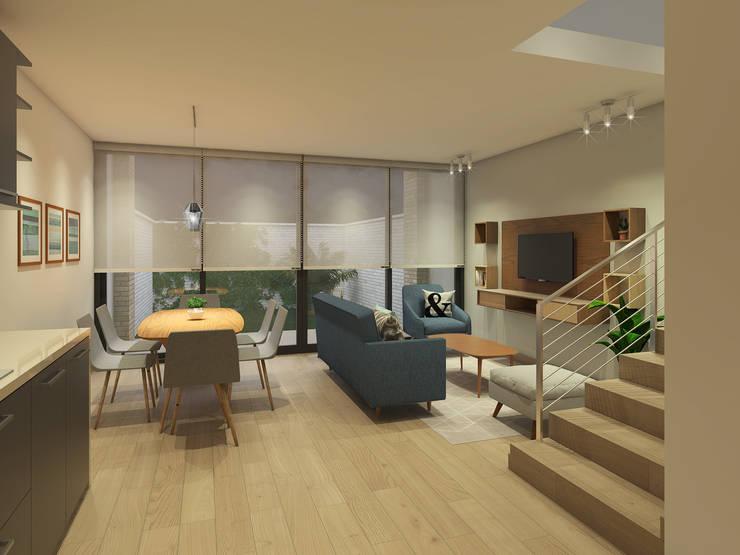 Propuesta General Living Comedor: Livings de estilo  por MM Design