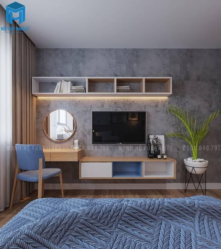 Một chiếc bàn trang điểm kết hợp với kệ tivi và kệ trang trí đặc trưng:  Phòng ngủ by Công ty TNHH Nội Thất Mạnh Hệ