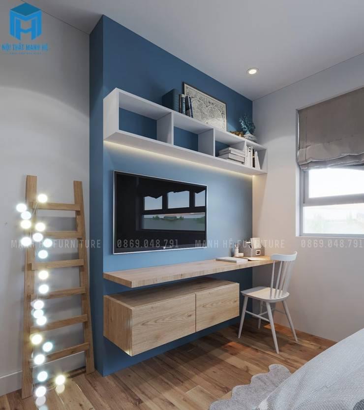 Thiết kế không gian học tập cho bé cạnh cửa sổ:  Phòng ngủ by Công ty TNHH Nội Thất Mạnh Hệ