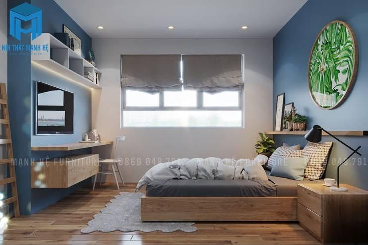 Phòng ngủ nhẹ nhàng, đón ánh sáng từ cửa sổ:  Phòng ngủ by Công ty TNHH Nội Thất Mạnh Hệ