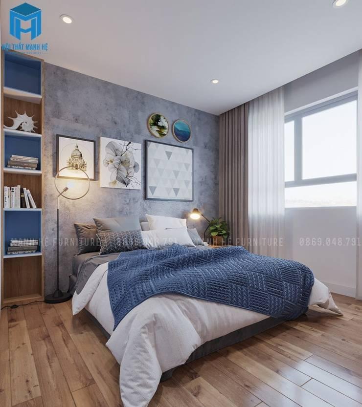 Trang trí phòng với rèm cửa hai lớp phối màu hài hòa:  Phòng ngủ by Công ty TNHH Nội Thất Mạnh Hệ