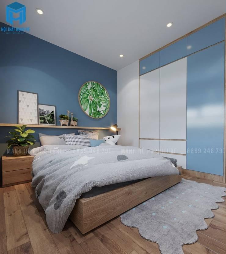 Phòng ngủ với tone xanh dương lạ mắt độc đáo:  Phòng ngủ by Công ty TNHH Nội Thất Mạnh Hệ
