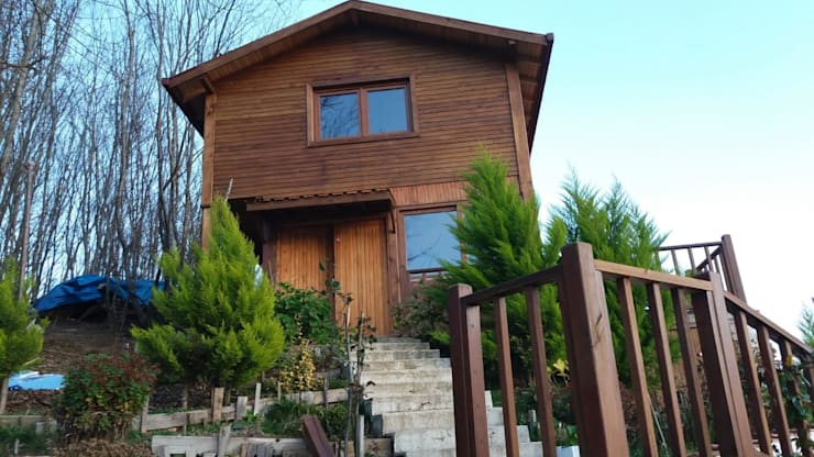 Деревянные дома в . Автор – Gürsoy Kerestecilik, Кантри Дерево Эффект древесины