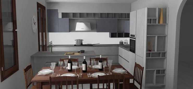 Render con tavolo in noce: Cucina in stile  di G&S INTERIOR DESIGN