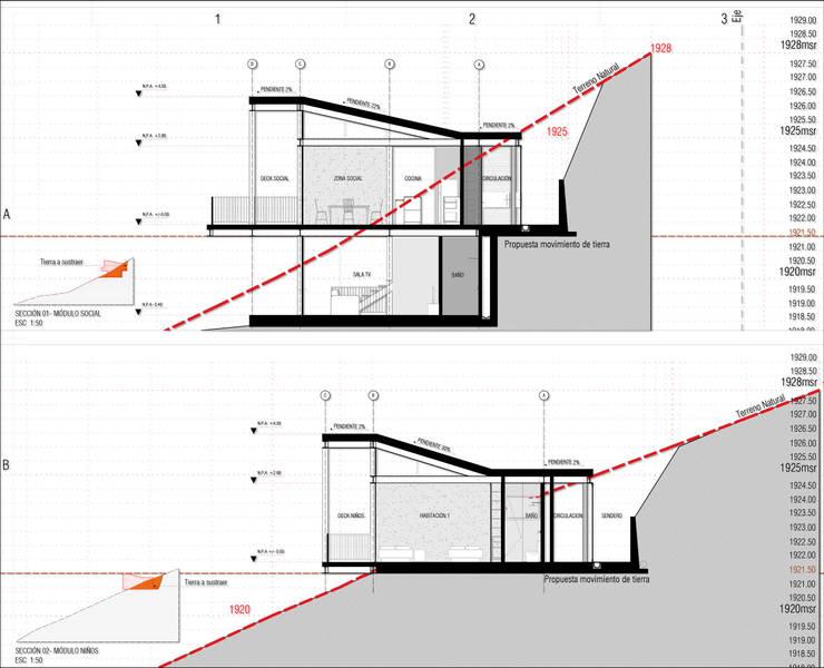 Casa J_p: Casas de estilo  por tresarquitectos