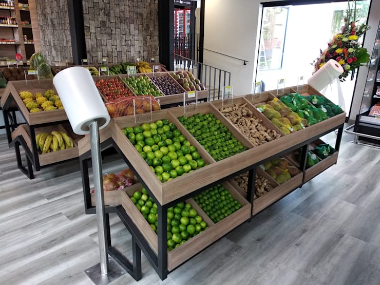 VENDIMIA FRESH MARKET & LILY´ S CAFÉ: Espacios comerciales de estilo  por @tresarquitectos