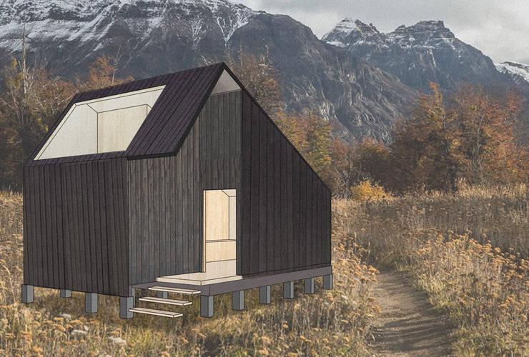 """Cabaña para mirar el cielo """"C"""": Casas ecológicas de estilo  por UNOAUNO arquitectura sustentable"""