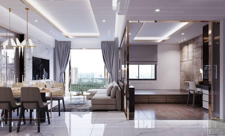 Thiết kế căn hộ Sunrise Cityview - Phong cách hiện đại tiện nghi:  Phòng khách by ICON INTERIOR