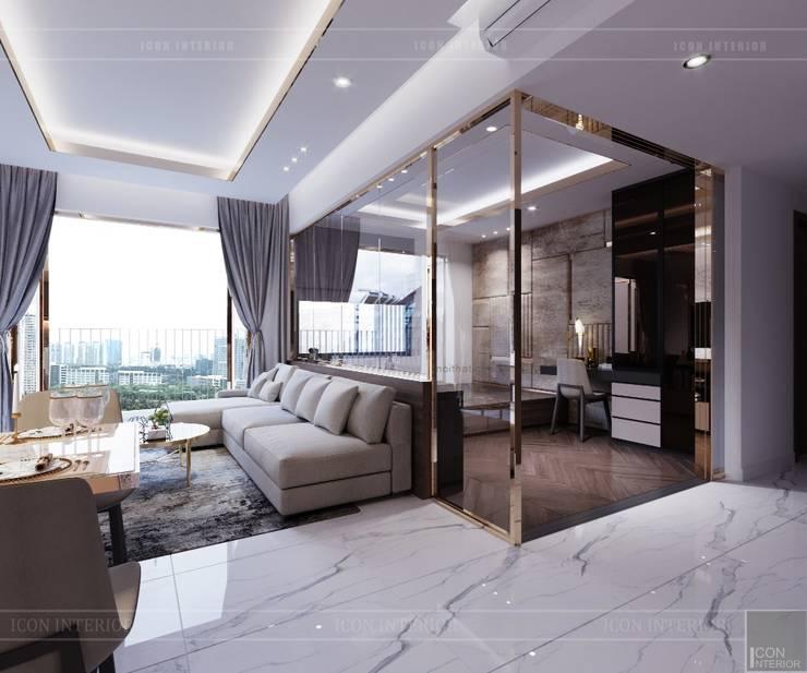 Thiết kế căn hộ Sunrise Cityview – Phong cách hiện đại tiện nghi:  Phòng khách by ICON INTERIOR
