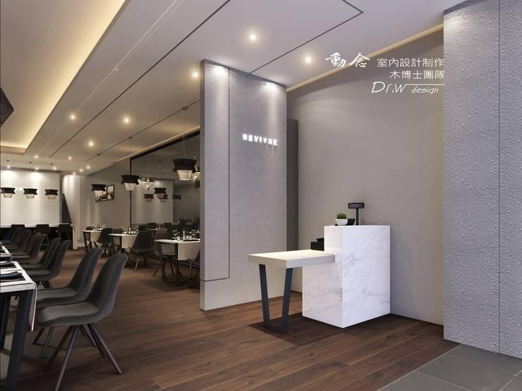 櫃檯/商業空間/現代風/收銀檯:  餐廳 by 木博士團隊/動念室內設計制作