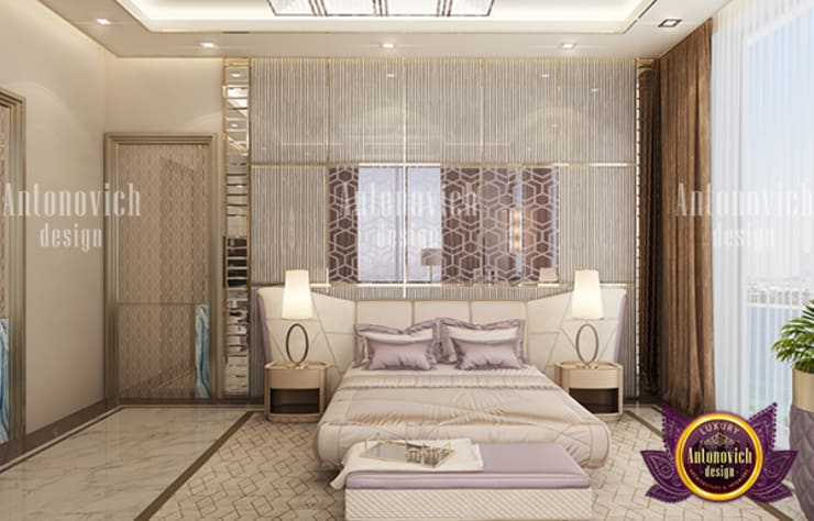 Cozy Bedroom with Pastel Details :   by Luxury Antonovich Design