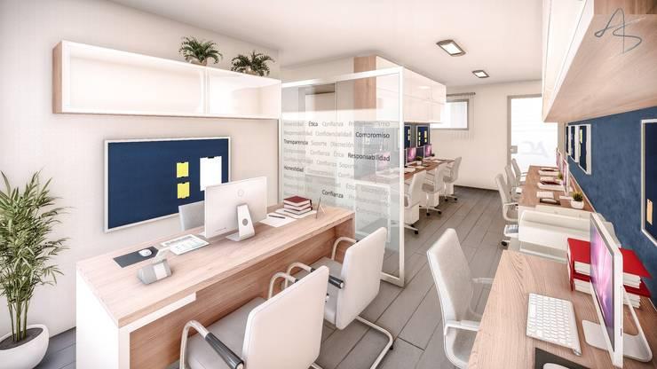 Diseño del área de trabajo del personal contable: Oficinas y Tiendas de estilo  por AS Arquitectura e Interiores