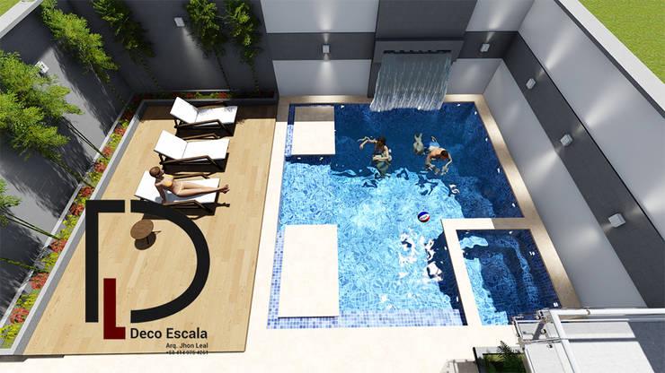 VISTA EN PLANTA : Terrazas de estilo  por DECOESCALA ARQ JHON LEAL