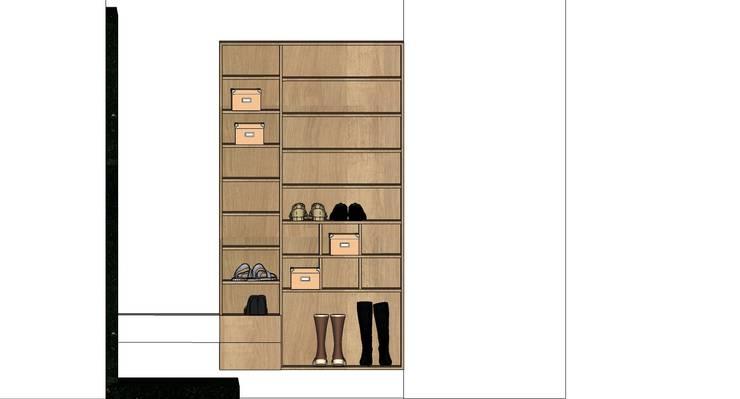 車庫鞋櫃-3D圖:  雙車庫 by houseda