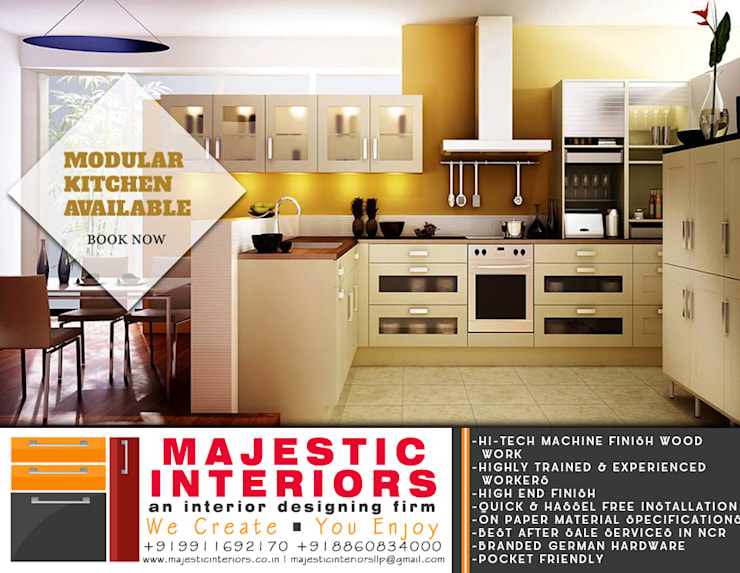 MODULAR KITCHEN DESIGNS AND DEALERS IN FARIDABAD:  Kitchen units by MAJESTIC INTERIORS,Asian