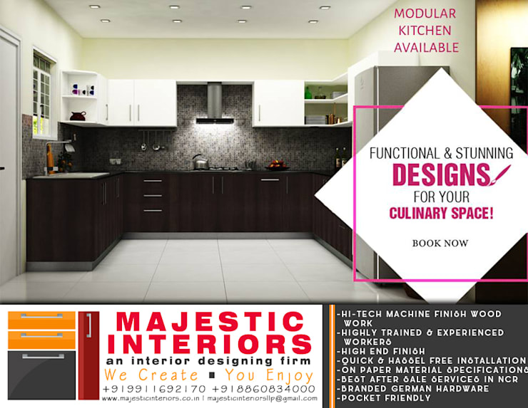 LATEST KITCHEN DESIGNS FARIDABAD: asian  by MAJESTIC INTERIORS,Asian