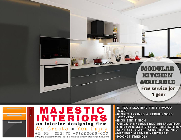 MODULAR KITCHENS NEAR ME IN FARIDABAD:  Small kitchens by MAJESTIC INTERIORS,Asian