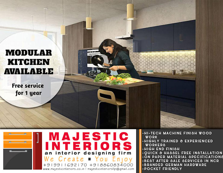 BEST KITCHEN DESIGNS IN FARIDABAD:  Kitchen units by MAJESTIC INTERIORS,Asian