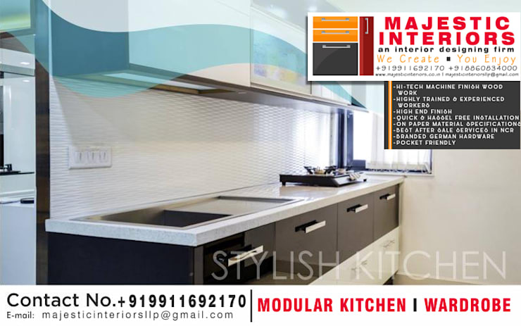 PVC KITCHEN IN FARIDABAD:  Built-in kitchens by MAJESTIC INTERIORS,Modern