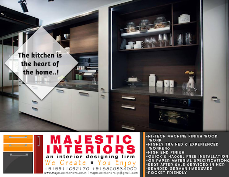 GERMAN MODULAR KITCHEN IN ACRYLIC FINISH:  Built-in kitchens by MAJESTIC INTERIORS,Modern