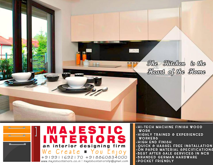 KITCHEN MANUFACTURERS IN FARIDABAD:  Kitchen units by MAJESTIC INTERIORS,Modern