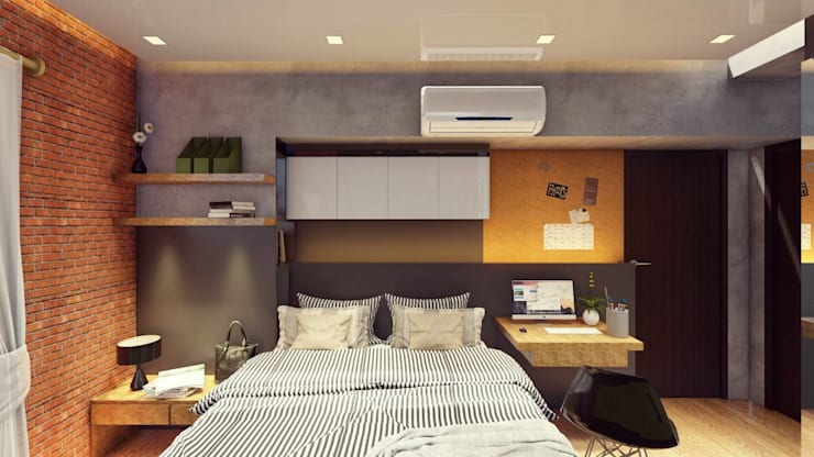 Bedroom - Final Scheme:  Small bedroom by Structura Architects