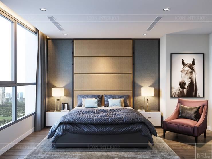 Thiết kế nội thất hiện đại tại căn hộ Landmark 4 Vinhomes Central Park:  Phòng ngủ by ICON INTERIOR