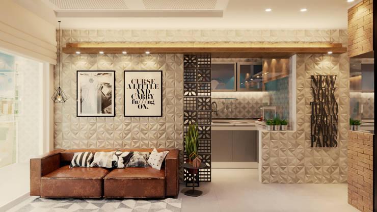 Sal com parede da sala cozinha aberta: Salas de jantar  por Gelker Ribeiro Arquitetura | Arquiteto Rio de Janeiro