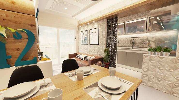 Projeto de Arquitetura de Interiores de Aparteamento  Industrial e HISPTE: Cozinhas pequenas  por Gelker Ribeiro Arquitetura | Arquiteto Rio de Janeiro